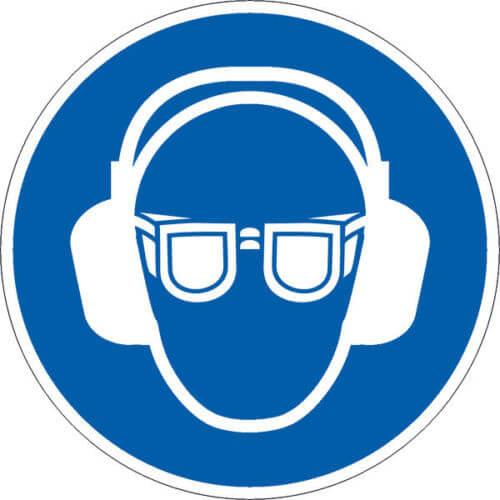 Gebotszeichen Gehör-/Augenschutz benutzen