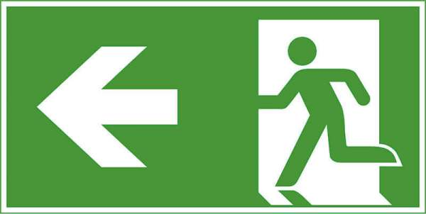 Rettungszeichen - Rettungsweg links