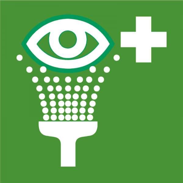 Rettungszeichen-Augenspueleinrichtung
