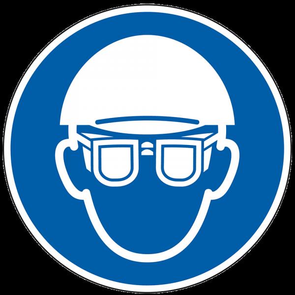 Gebotszeichen Augen- und Kopfschutz tragen