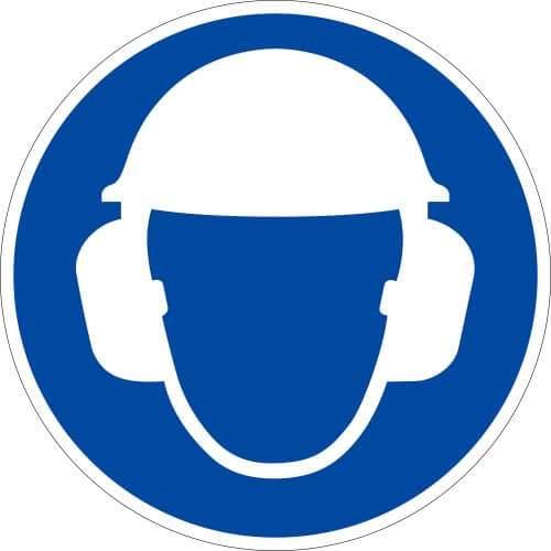 Gebotszeichen Gehör- und Kopfschutz tragen