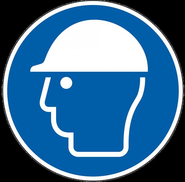 Gebotszeichen Kopfschutz benutzen